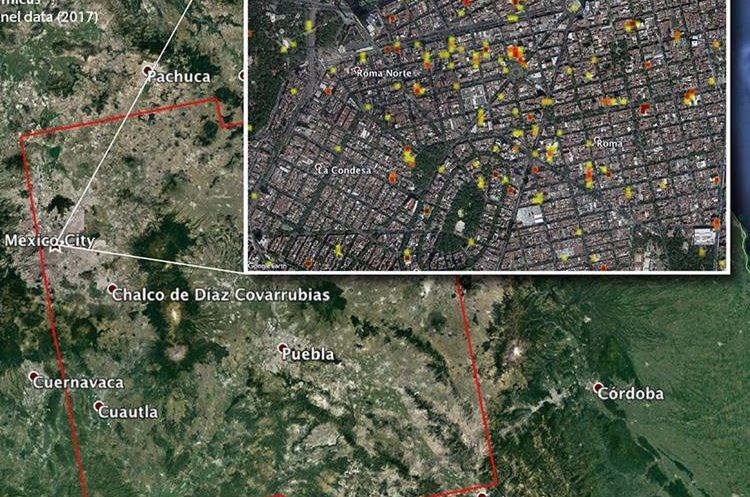 El mapa cubre un área de 175 por 170 kilómetros y cada pixel representa un perímetro de 30 metros de diámetro. (Foto Prensa Libre: Nasa)