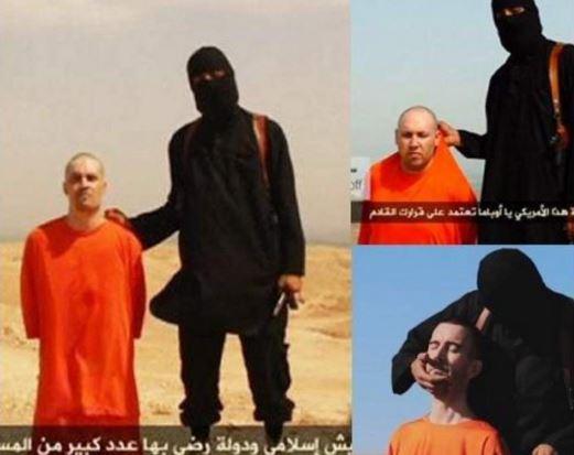 """Capturas de videos donde figuraba el """"Yihadista John"""" mientras decapitaba a sus víctimas. (Foto: @AgenciaTelam)."""