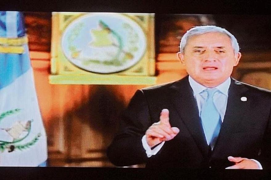 Imagen tomada de televisión, durante el mensaje del presidente a la Nación, que duró 5.27 minutos.