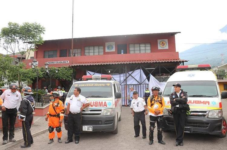 Sede de la 55 Compañía de los Bomberos Voluntarios de Alotenango, donde pertenecen los socorristas desaparecidos. (Foto Prensa Libre: Cortesía)