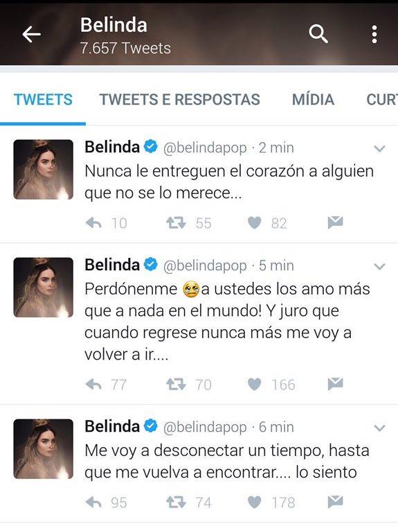 Los tuits permanecieron algún tiempo en la línea de tiempo de Belinda, pero luego fueron borrados (Foto Prensa Libre: Twitter).