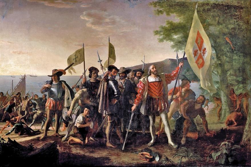 Desembarco de Colón. Óleo sobre tela de John Vanderlyn (1847).