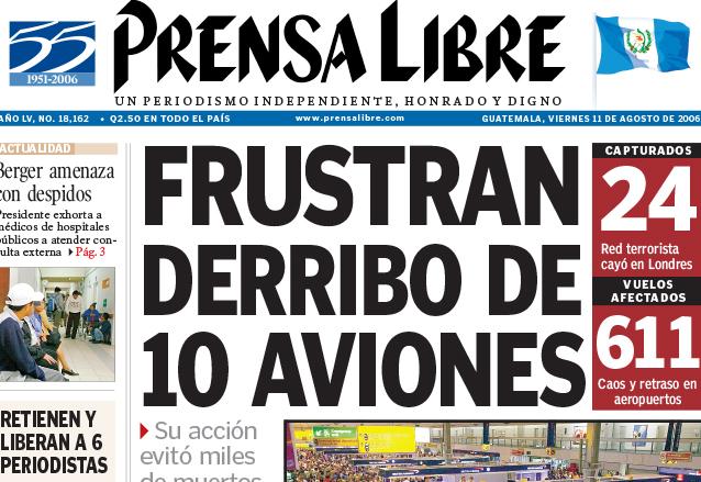 Titular de Prensa Libre del 11 de agosto de 2006. (Foto: Hemeroteca PL)