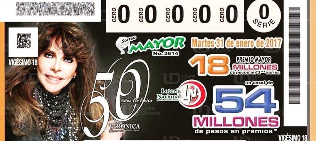 Así luce uno de los billetes con los que la Lotería Nacional de México celebra los 50 años de trayectoria de Verónica Castro. (Foto: Hemeroteca PL).