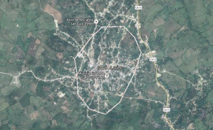 Mapa de San Luis Petén. (Foto Prensa Libre: Google Maps)