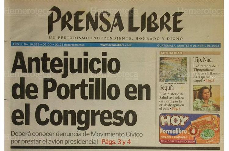 Varias organizaciones exigieron al Congreso un antejuicio contra Portillo por prestar el avión. 9/4/2002. (Foto: Hemeroteca PL)