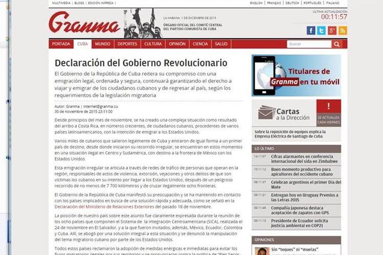 La declaración del gobierno fue publicada en el periódico oficial Granma este martes.