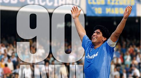 Maradona felicitó al Nápoli por los 90 años de historia del club. (Foto Prensa Libre: Facebook Diego Armando Maradona).