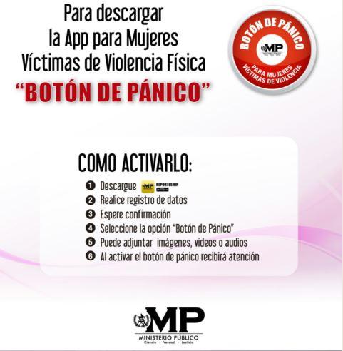 El afiche informa de la aplicación que puede ser descargada en los teléfonos inteligentes para denunciar violencia contra la mujer.(Foto Prensa Libre: MP)