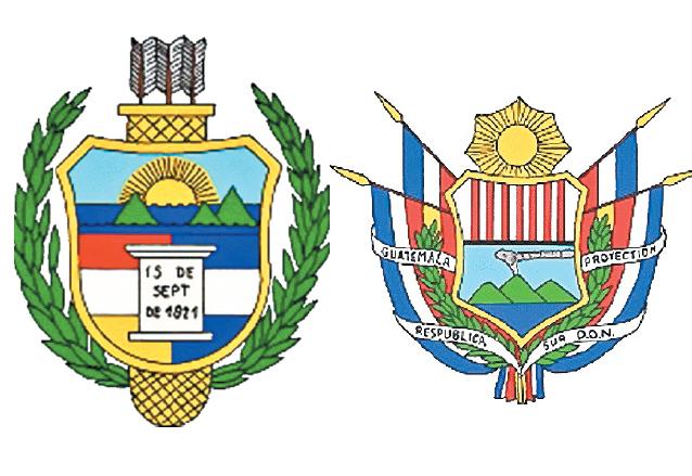 A la izquierda: Escudo de Armas de Guatemala (1851-1858), derecha: Escudo de Armas de Guatemala (1858-1871). (Foto: Hemeroteca PL)