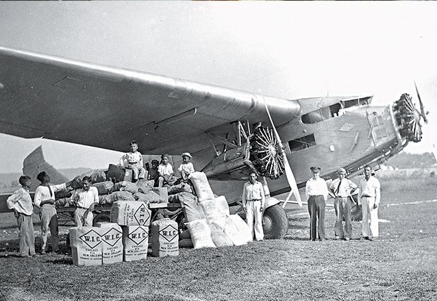 Aeródromo de Santa Elena, Petén, en 1940. Se aprecia un cargamento de chicle, que se exportaba principalmente a Estados Unidos. (Foto: Hemeroteca PL)