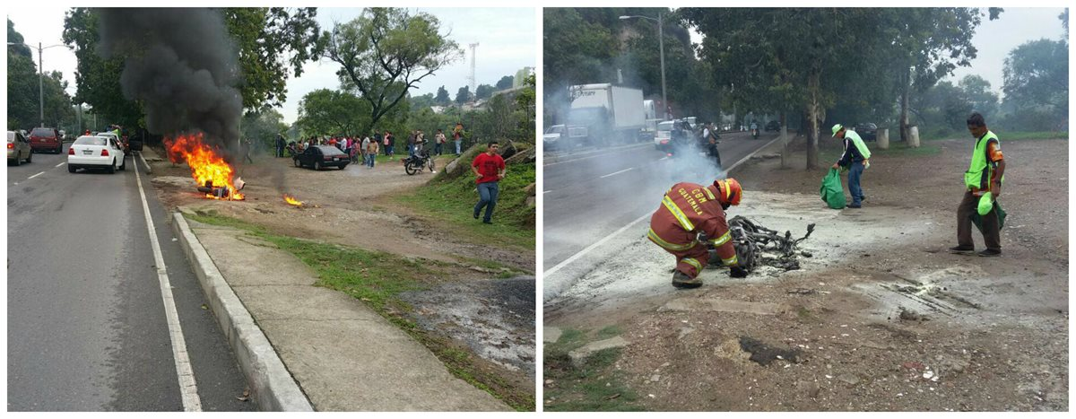 Una motocicleta se incendió en la calzada La Paz, zona 5. (Foto Prensa Libre: PMT)