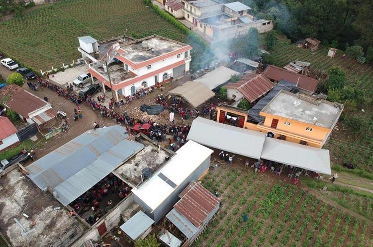 Vista aérea de la aldea Los Mendoza, San Juan Ostuncalco, Quetzaltenango.