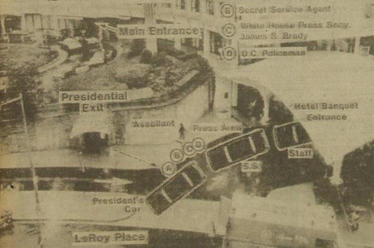 Infografía que detalla paso a paso el atentado contra el presidente Reagan. (Foto: Hemeroteca PL)