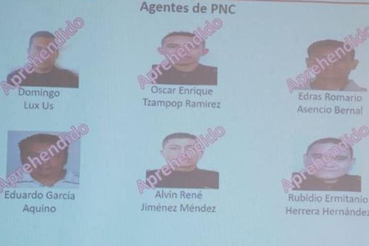 Agentes de la PNC que estarían implicados. (Foto Prensa Libre: MP).
