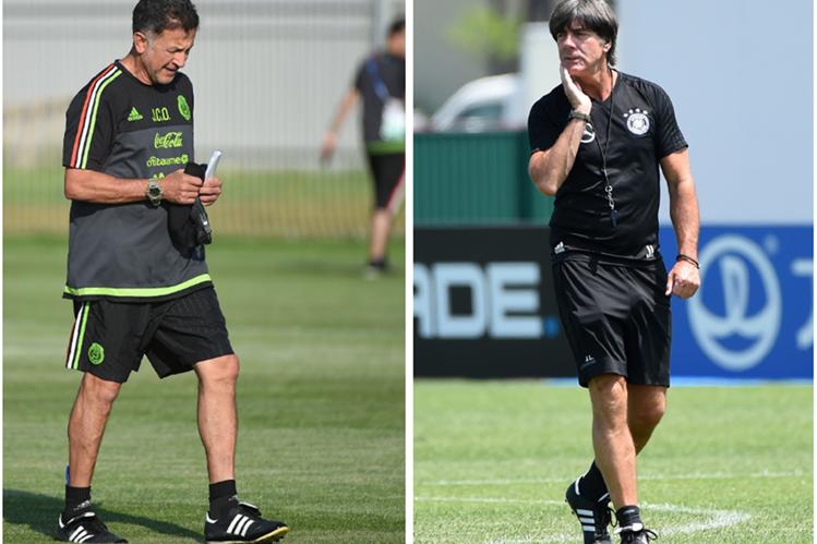 Juan Carlos Osorio, de México, y Joachim Löw, de Alemania, se enfrentarán hoy para definir el pase a la final. (Foto Prensa Libre: AFP)