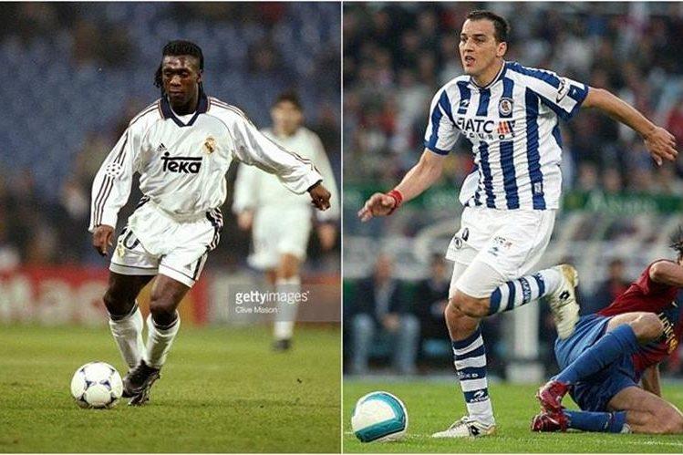 Clarence Seedorf (i), cuando jugaba para el Real Madrid. Darko Kovacevic (d), mientras militaba para la Real Sociedad. (Foto: www.gettyimages.com y www.sansasport.com).