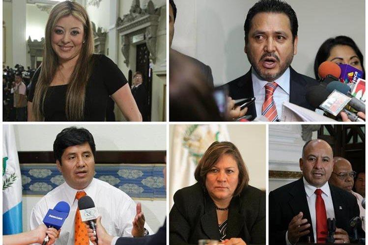 Emilenne Mazariegos, Gudy Rivera, Haroldo Quej, Mirza Arreaga y Luis Chávez, tienen gente de su confianza como sustitutos en el Congreso. (Foto Prensa Libre: Hemeroteca PL)