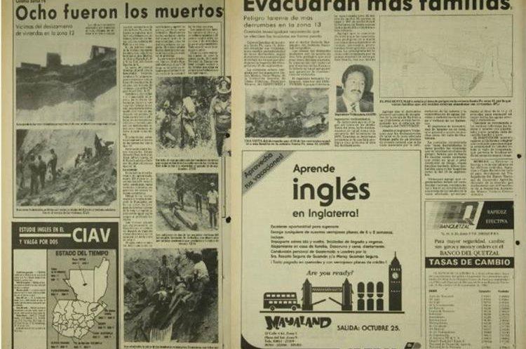 Prensa Libre publicó la tragedia en Santa Fe en septiembre de 1986. Los bomberos encontraron a ocho personas soterradas. (Foto Hemeroteca PL).