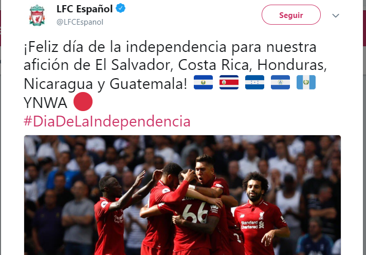 El Liverpool mencionó a Guatemala en su felicitación por la independencia. (Foto Prensa Libre: Twitter Liverpool)