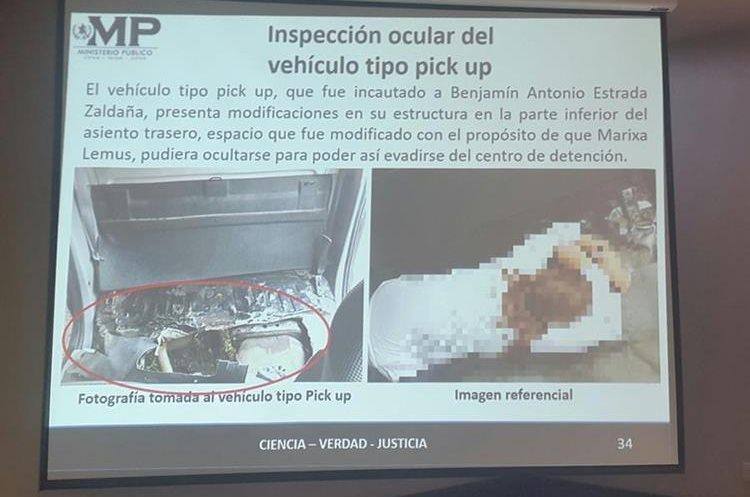 El picop fue modificado para que Lemus pudiera esconderse y salir sin levantar sospechas. (Foto Prensa Libre: MP)