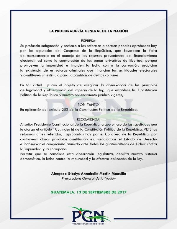 Pronunciamiento de la Procuraduría General de la Nación. (Foto Prensa Libre: PGN).