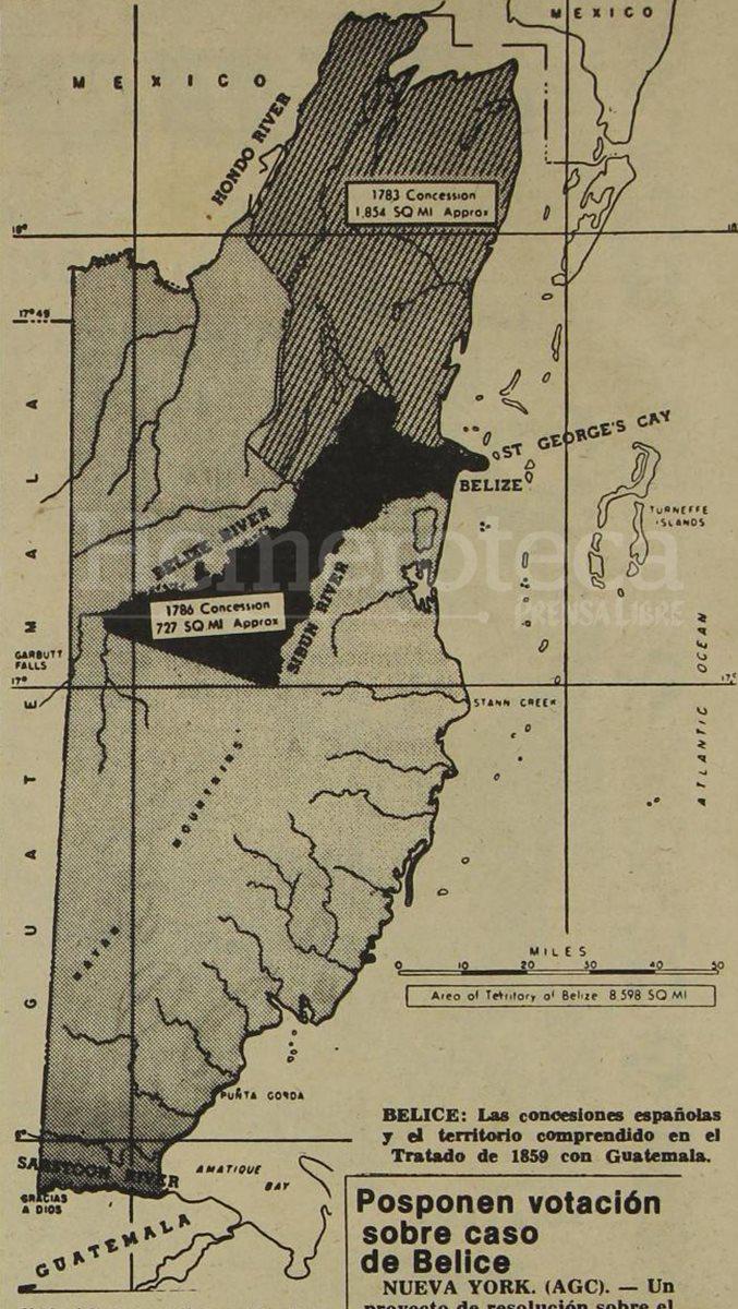 29/11/1978. Mapa de Belice publicado en Prensa Libre, con las concesiones de 1783 y 1786. (Foto: Hemeroteca PL)