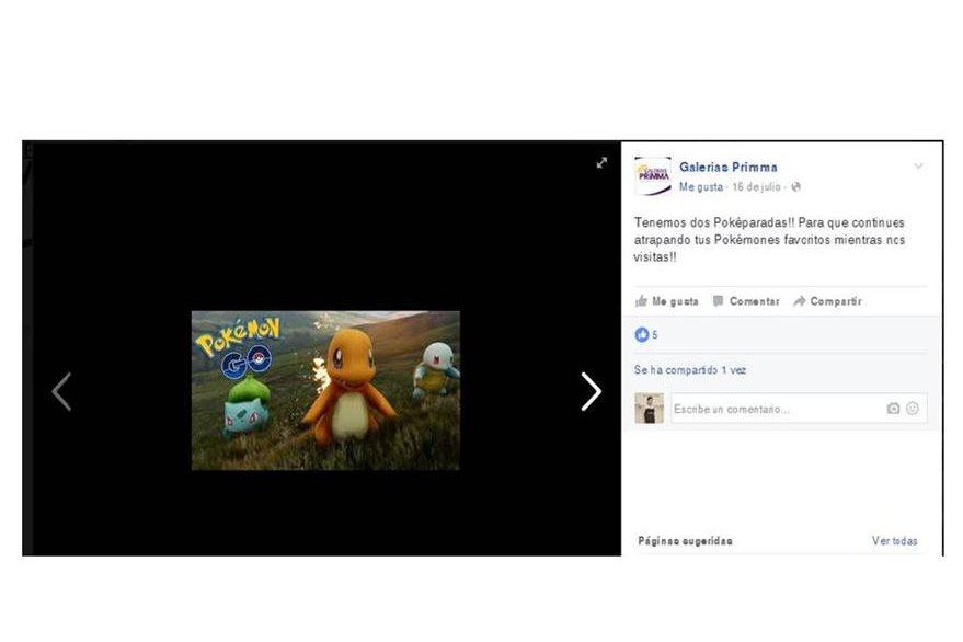Galerías Primma recibe a los jugadores de Pokemón Go. (Foto Prensa Libre: Facebook de GaleriasPrima).