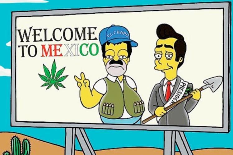 Una de las ilustraciones del artista italiano Alexsandro Palombo, donde aparece Homero Simpson, como Joaquín El Chapo Guzmán.