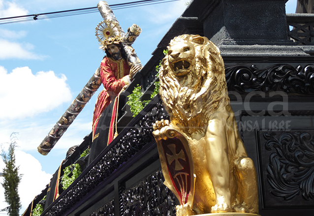 Los leones son símbolo de la procesión de Jesús de la Merced de la capital. (Foto: Néstor Galicia)