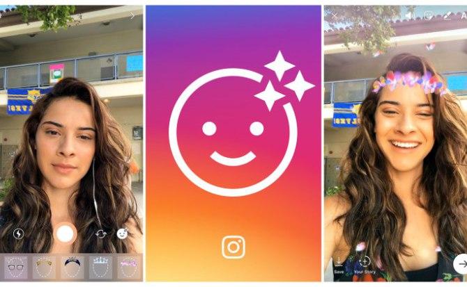 Este es uno de los filtros de realidad aumentada que lanzó este martes Instagram. (Foto Prensa Libre: Hipertextual).