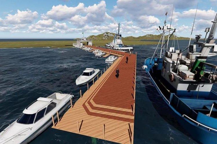 Diseño del muelle turistico de Puerto Barrios que será construido por el Inguat y la municipalidad de Puerto Barrios. (Foto Prensa Libre: Dony Stewart)