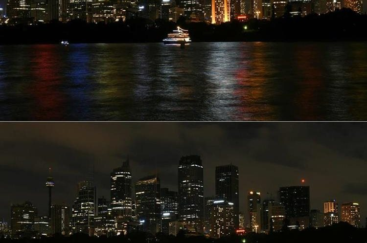 (TOP) and after (BOTTOM) the lights were switched off during the Earth Hour campaign in Sydney.     Millions of people from 178 countries and territories are expected to take part in WWF