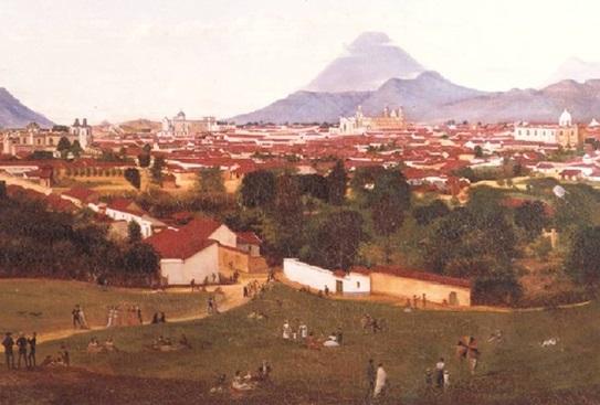 Pintura de la Ciudad de Guatemala a partir de una fotografía (1870). Autor: Augusto Succa.