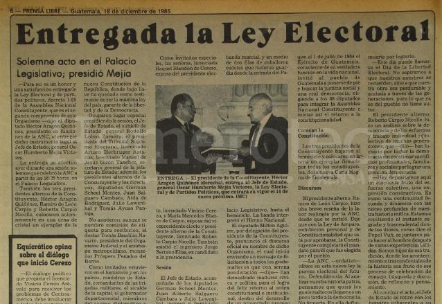 Nota periodística del 18/12/1985 informando sobre la entrega de la Ley Electoral. (Foto: Hemeroteca PL)
