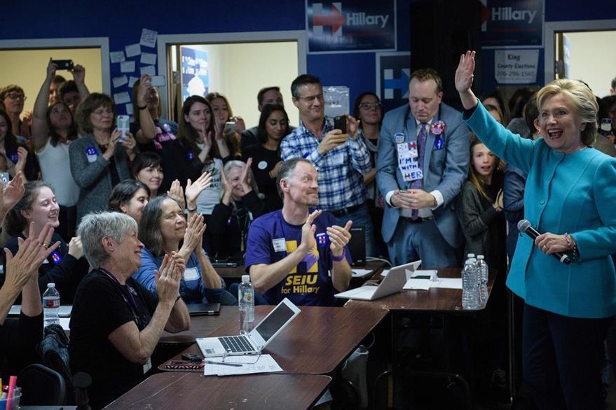 Candidata demócrata Hillary Clinton visita Seattle, Washington. (AFP)