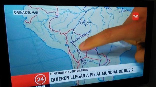El proyecto tuvo una amplia cobertura en los medios chilenos donde mostraron la ruta inicial que habían trazado. (Crédito: Camino al Mundial/Facebook)