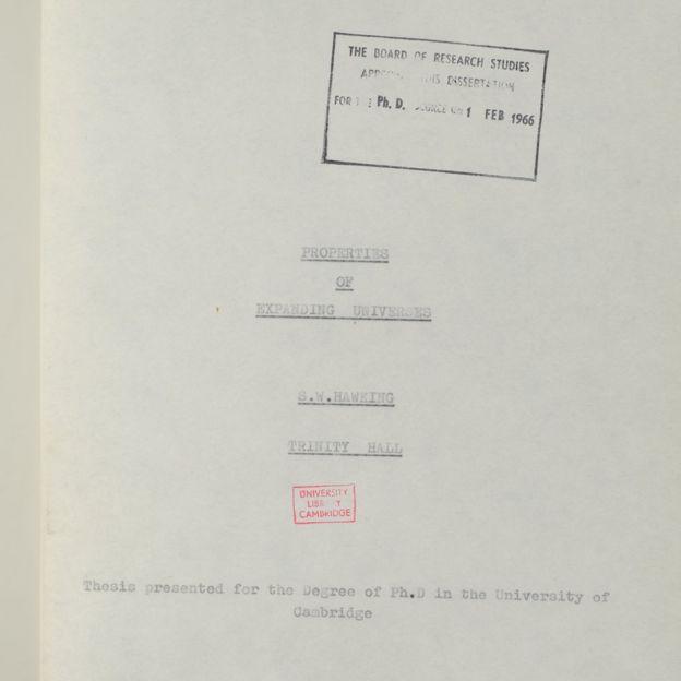 Esta es la página de presentación de la tesis de Stephen Hawking. (CAMBRIDGE UNIVERSITY/STEPHEN HAWKING)