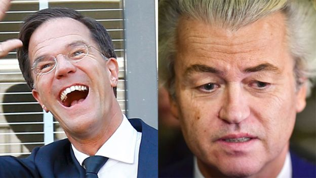 """Mark Rutte habló de la derrota del """"populismo equivocado"""" y se mostró dispuesto a colaborar con los otros partidos para formar un gobierno estable de coalición. No está claro si se acercará al partido de Geert Wilders. REUTERS Y EPA"""