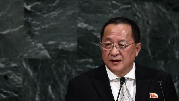 """El ministro de Relaciones Exteriores de Corea del Norte, Ri Yong-ho, dijo que Trump va hacia """"una misión suicida"""". AFP"""