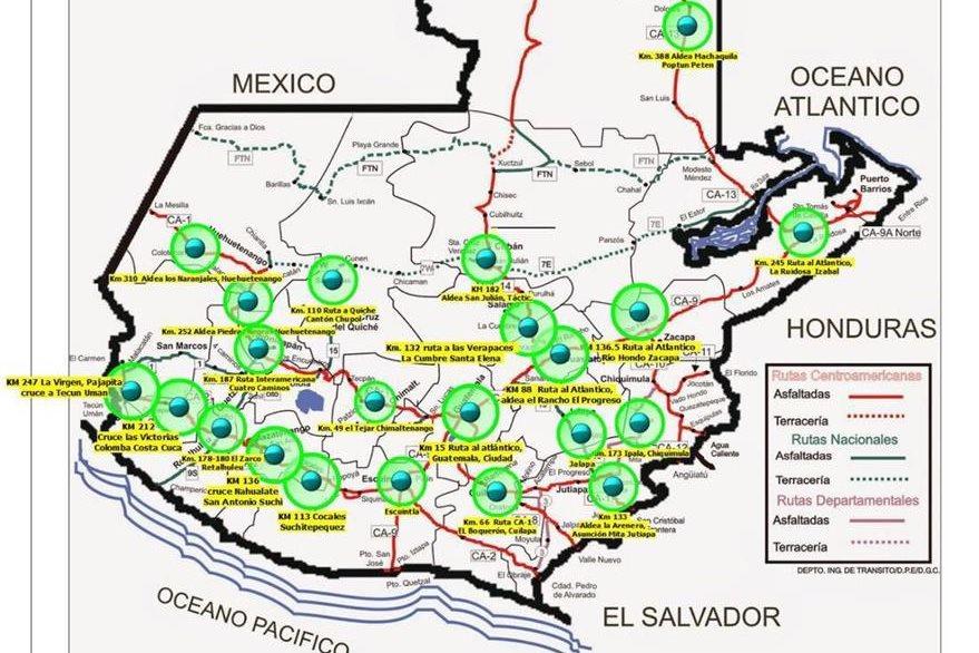 Puntos de bloqueos anunciados por Codeca para el miércoles 26 de octubre. (Foto Prensa Libre: PNC)