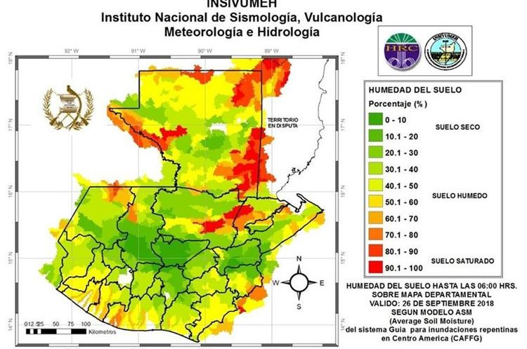 Mapa de humedad del suelo, distribuido por el Instituto Nacional de Sismología, Vulcanología, Meteorología e Hidrología. (Foto Prensa Libre: Cortesía Conred)