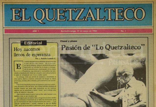 Primera portada de elQuetzalteco del 12 de mayo de 1984. (Foto: Hemeroteca PL)