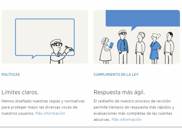 La sección de Políticas y Cumplimiento de Ley, permite que el usuario conozca las normas de uso de la red social. (Foto Prensa Libre: Tomada de Twitter).