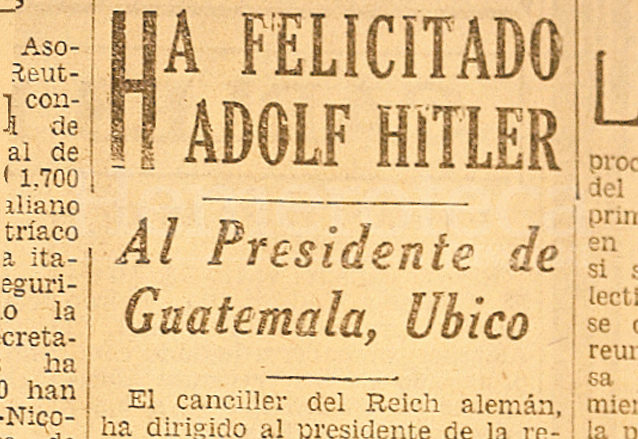 Recorte del diario El Imparcial el cual recogía la felicitación de Adolfo Hitler al presidente Jorge Ubico. (Foto: Hemeroteca PL)