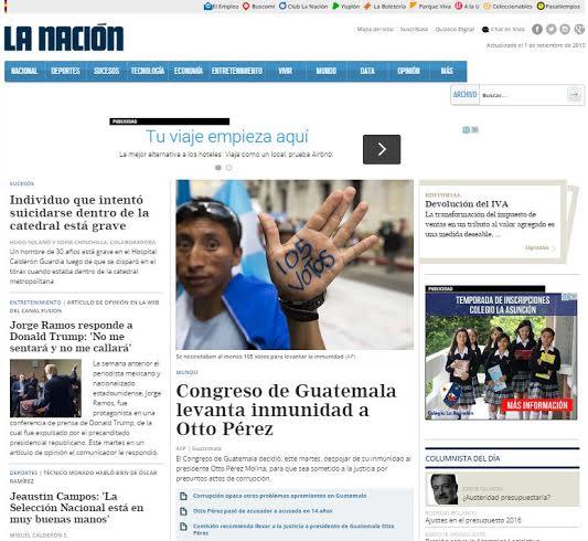PORTADA DEL DIARIO LA NACIÓN DE COSTA RICA.