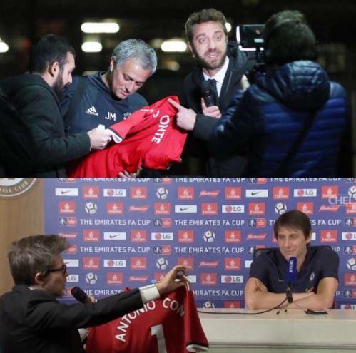 Mourinho no sabía que la camisola sería entregada a Conte. (Foto Prensa Libre: Redes sociales)