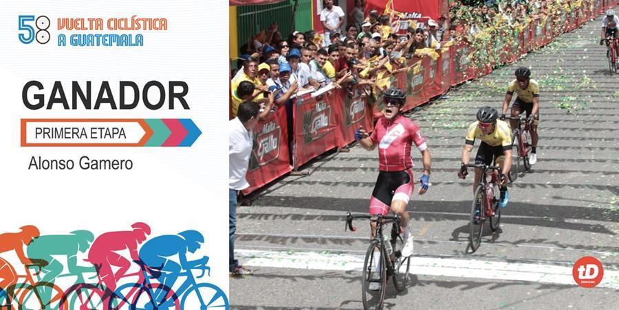El peruano Alonso Gamero celebra al cruzar la meta de la primera etapa de la 58 Vuelta a Guatemala que se disputó entre Ciudad de Guatemala y Guastatoya. (Foto Prensa Libre: Norvin Mendoza)