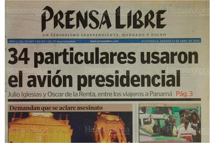Portada de Prensa Libre del 27/04/2001. (Foto: Hemeroteca PL)