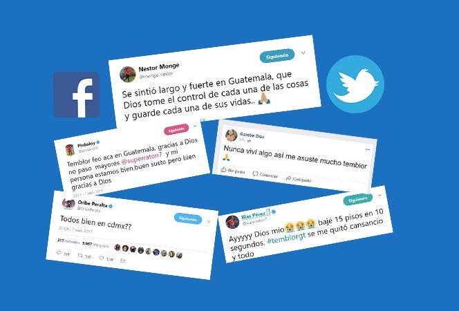 Estos son varios de los mensajes que algunos futbolistas escribieron en sus redes sociales por el temblor. (Foto Prensa Libre: Redes sociales)